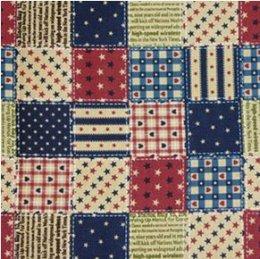 ผ้าคอตตอนญี่ปุ่น ลายสี่เหลี่ยมใหญ่ สีน้ำเงิน ขนาด 1/4 หลา (45 * 55 ซม.)