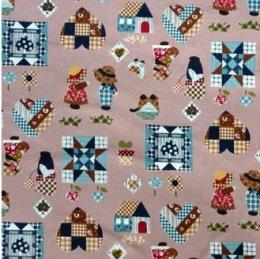 ผ้าคอตตอนญี่ปุ่น ลายน้องซู สีชมพู ขนาด 1/4 หลา (45 * 55 ซม.)