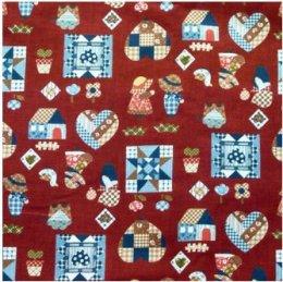 ผ้าคอตตอนญี่ปุ่น ลายน้องซู สีแดง ขนาด 1/4 หลา (45 * 55 ซม.)