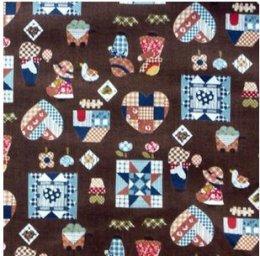ผ้าคอตตอนญี่ปุ่น ลายน้องซู สีน้ำตาลเข้ม ขนาด 1/4 หลา (45 * 55 ซม.)