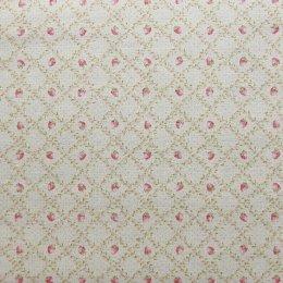 ผ้าคอตตอนลินิน ลายสตรอเบอรี่ สีชมพู ขนาด 1/4 หลา (45 * 55 ซม.)