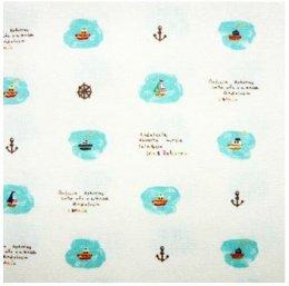 ผ้าคอตต้อนลินินญี่ปุ่น ลายเรือใบ ขนาด 1/4 เมตร (50 * 55 ซม.)