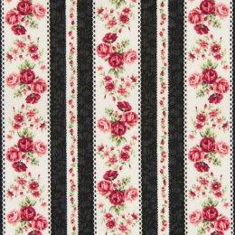 ผ้าญี่ปุ่น Rose Quilt Gate  สีดำ ขนาด 1/4 หลา (45 * 55 ซม.)