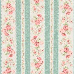 ผ้าญี่ปุ่น Rose Quilt Gate สีเขียว ขนาด 1/4 หลา  (45 * 55 ซม.)