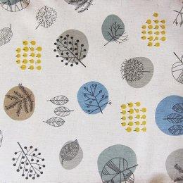 ผ้าคอตตอนลินินญี่ปุ่น ลายใบไม้ daiwabo ขนาด 1/4 หลา ( 45 x 55 ซม.)