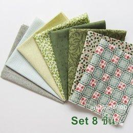 ผ้าคอตตอนญี่ปุ่นจัดเซต โทนสีเขียว 8 ชิ้น (22 * 27 ซม.)
