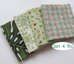 ผ้าคอตตอนญี่ปุ่นจัดเซต สีเขียว 4 ชิ้น (27 x 45 ซม.)