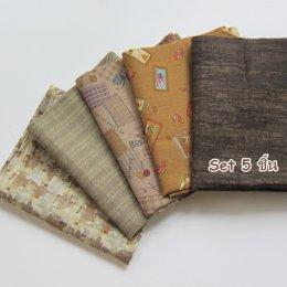 ผ้าคอตตอนญี่ปุ่นจัดเซต สีเขียว-น้ำตาล 5 ชิ้น (27 * 45 ซม.)