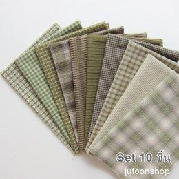 ผ้าทอจัดเซต โทนสีเขียว 10 ชิ้น ขนาด 25 x 35 ซม. (1/16 ม.)