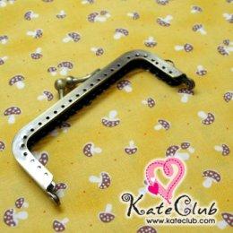 (หมดค่ะ) ปากกระเป๋าปิ๊กแป๊กเหล็กทรงเหลี่ยม สีทองเหลือง ขนาด 10 cm