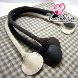 SALE - (เหลือแค่สีเบจค่ะ) สายกระเป๋าหูผ้าปลายหนังขอบมน **สายกลม มีช่องสำหรับเย็บ ความยาว 40 ซม. (สีน้ำตาลเข้ม/ดำ/เบจ)