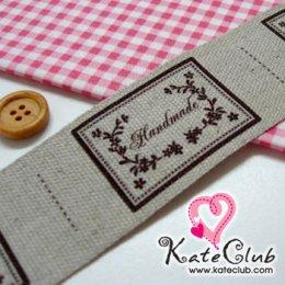 ป้ายผ้าลินิน Handmade สวยคลาสสิก (ขนาด 4x7.9 cm)