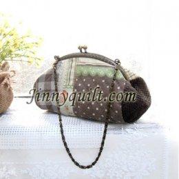 ชุดอุปกรณ์เย็บกระเป๋าปิ๊กแป๊ก Brown Chain Bag By JinnyQuilt
