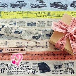 ผ้าคอตตอนผสมลินิน -  ลาย Vintage 30 tape  (1/2หลา = 45x142cm)