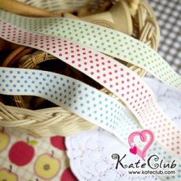 เทปผ้า สกรีนลายจุด 3 สี (หน้ากว้าง 2 cm)  1 หลา **คลิกเลือกสีด้านใน