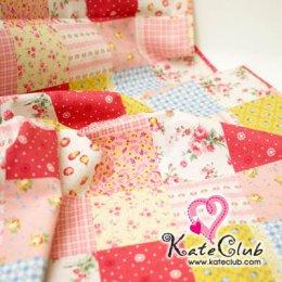 ผ้า Cotton Floral collection - โทนชมพูเหลือง (1 บล็อค = 52x110 cm)