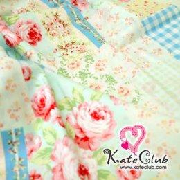 ผ้า Cotton ลายดอกกุหลาบ Medium Pastel - โทนฟ้า (1/4 ม.= 50 x 55cm)
