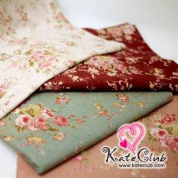 (เหลือสีชมพู 1/4, ครีม 1/2 ค่ะ) ผ้า Cotton ลายดอกกุหลาบ Antique Rose - กุหลาบกับตะกร้า (1/4 ม.= 50 x 55cm)