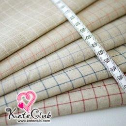 ผ้า Set No.73 ผ้าคอตตอนผสมลินิน - ลายเส้นตาราง  ชิ้นละ 1/8 หลา x 5 ชิ้น (37x45cm)