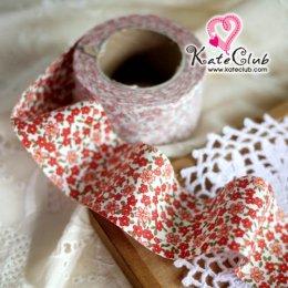 ผ้ากุ๊นสำเร็จรูป (ผ้าคอตตอน) เกาหลี No.229 - ดอกไม้ สีแดง หน้ากว้าง 3.5 ซม. พร้อมเย็บสะดวกสุดๆ 1 หลา
