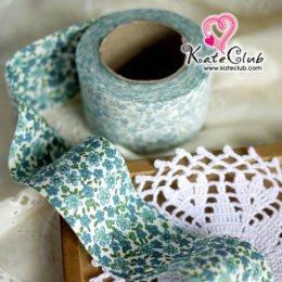 ผ้ากุ๊นสำเร็จรูป (ผ้าคอตตอน) เกาหลี No.230 - ดอกไม้ สีฟ้า หน้ากว้าง 3.5 ซม. พร้อมเย็บสะดวกสุดๆ 1 หลา