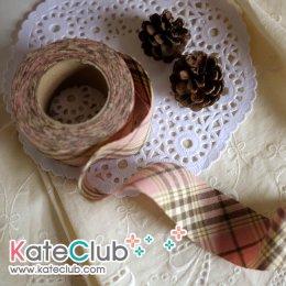 ผ้ากุ๊นสำเร็จรูป (ผ้า Country) เกาหลี No.244 - สีชมพูน้ำตาล หน้ากว้าง 3.5 ซม. พร้อมเย็บสะดวกสุดๆ 1 หลา