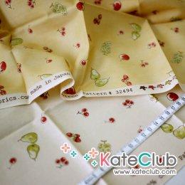 SALE - (สีครีมเหลือ 1/2 หลา, สีเหลืองเหลือ 1 หลา) ผ้า Cotton อเมริกา MODA - ลายผลไม้ (ตัดขาย 1/4 หลา=45x55cm)