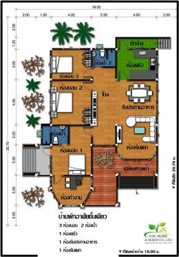 15 แบบบ้านชั้นเดียว 3 ห้องนอน 2 ห้องน้ำ