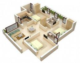 แปลนบ้านชั้นเดียว/อพาร์ทเมนท์สวยๆแบบ 3 ห้องนอน