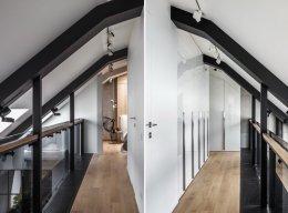 ห้องใต้หลังคาดีไซน์ทันสมัย ที่ตกแต่งด้วยสีเทาเป็นหลัก แบบที่ 2