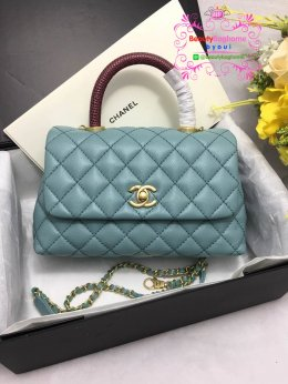 Chanel coco handle bag สีฟ้า original leather