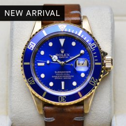 Rolex Submarine Yellow Gold Blue Dial Leather Strap