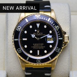 Rolex Submarine Yellow Gold Black Dial Leather Strap