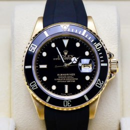 Rolex Submarine Yellow Gold Rubber Strap