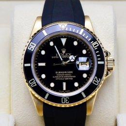 Rolex Submarine Yellow Gold Rubber Strap