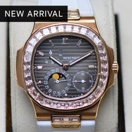 Patek Philippe 5724R Nautilus Diamond Baguette Original Rose Gold Moonphase & Power Reserve Leather Strap Box and Paper