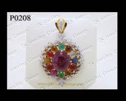 จี้พลอยนพเก้า (Gems Pendant) ล้อมเพชร Heart & Arrow - Russian Cut