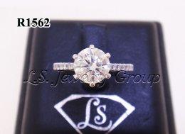 แหวนเพชรชู เพชรกลาง H&A 1.04 Ct. ก้านเพชรเรียง