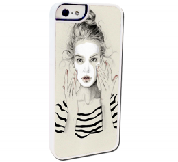 เคสไอโฟน 5 และ 5s Illustration girl Plastic iphone5-5s case