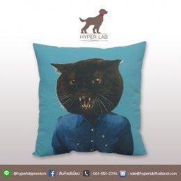 หมอนอิงรูปแมวดำ ใส่เสื้อยีนส์