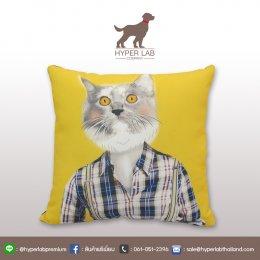 หมอนสกรีนรูปแมวเปอร์เซีย พื้นหลังสีเหลือง