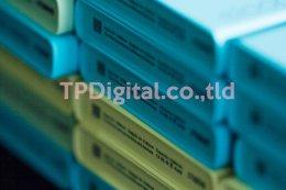 งานพิมพ์ Power Bank พิมพ์ลายลงบน Power Bank สีเขียว สีเหลือง สีฟ้า ลาย ธนาคารออมสิน