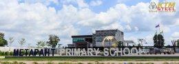 งานลูกโลก-ป้ายชื่อโรงเรียน-เสาธง โรงเรียนเมธาพัฒน์ (อ.เมือง นครราชสีมา)