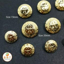 กระดุมทองสลักลาย 15 มิล