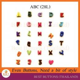 กระดุมตัวอักษร ABC (28L)