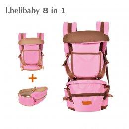 I.belibaby Carrier+Hip Seat 8 in 1 เป้อุ้มเด็ก สีชมพู