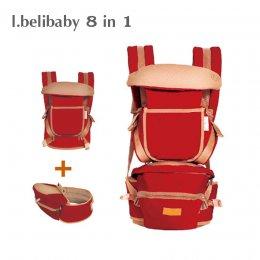 I.belibaby Carrier+Hip Seat 8 in 1 เป้อุ้มเด็ก สีแดง