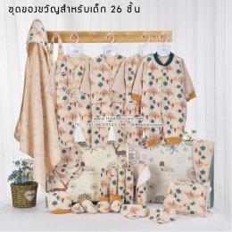 ชุดของขวัญสำหรับเด็กแรกเกิด เสื้อผ้าเด็ก เซตของขวัญหนูน้อย ชุดเซทเสื้อผ้าสำหรับเด็กอ่อน 26 ชิ้น (แบบ 5)