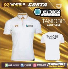 เสื้อบอลวาริกซ์คอปก รุ่น Wa3328 สีขาวทอง เสื้อกอล์ฟ TANIOBIS GOLF