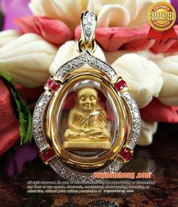 หลวงพ่อเงิน เนื้อทองคำ เลี่ยมกรอบทองคำฝังเพชรประดับทับทิมเจียรนัย ขนาดน่ารัก สวยสุดๆค่ะ